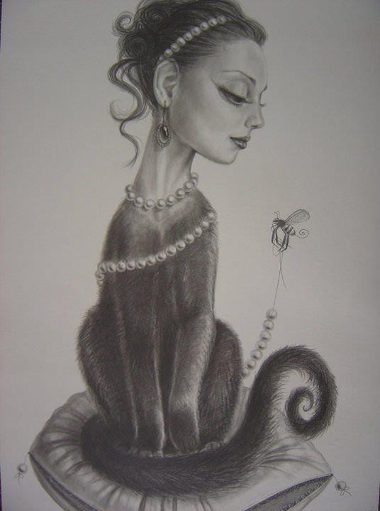 half woman cat hybrid animal pet girl leila ataya drawing sketch surreal