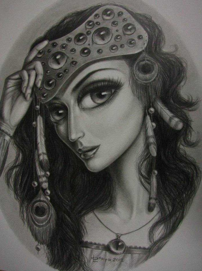 hippy girl drawing sketch big eyes peacock feathers head band leila ataya