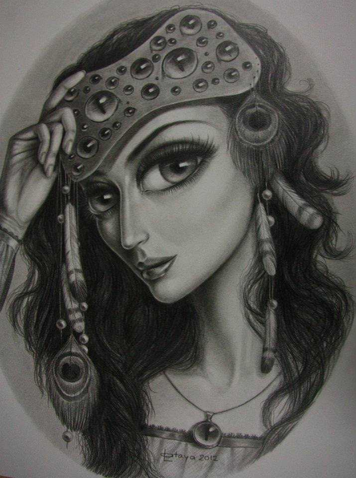 hippy girl drawing sketch big eyes peacock feathers head band leila