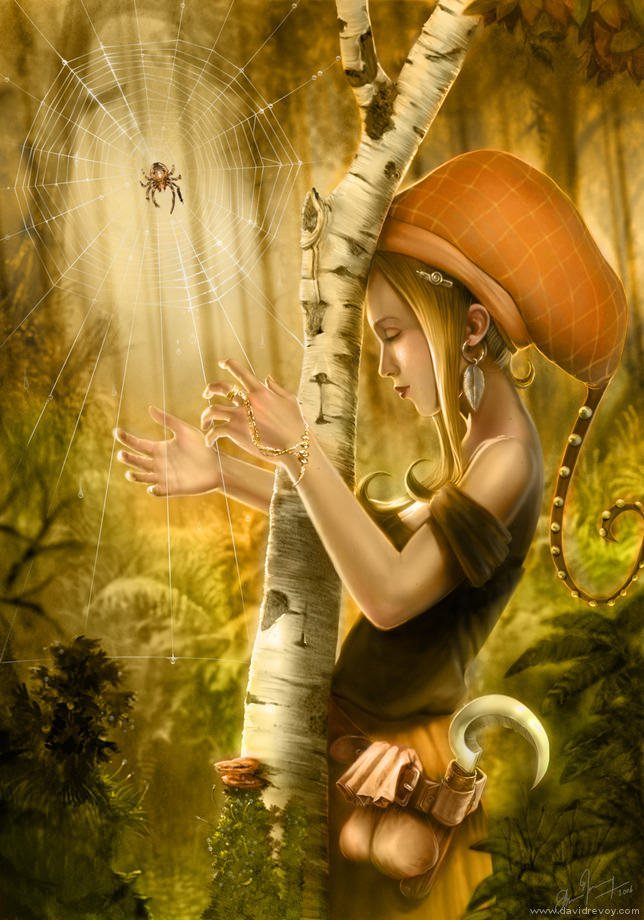 hippy nature girl fairy tale spider web harp wishes dreams music fantasy illustration art