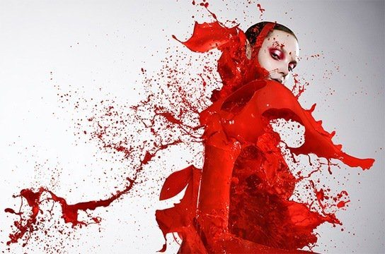 iain crawford photography model paint clothing splash fashion color liquid elemental red