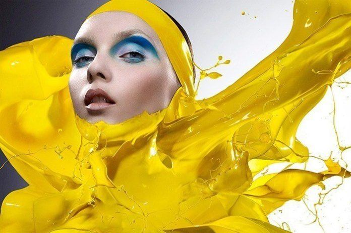 iain crawford yellow paint splash clothing liquid model fahion photography