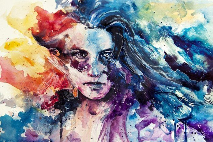 intense emotional rainbow color painting gay rights woman girl watercolor portrait painting art