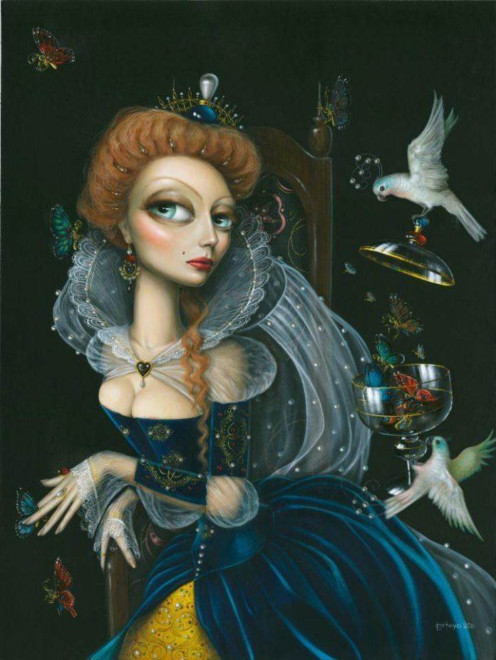 leila ataya victorian woman velvet dress big eyes butterflies doves feminine fine art painting
