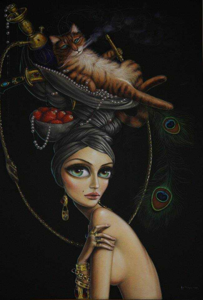leila ataya big eyes beautiful girl woman surreal fantasy painting fine art hookah smoking cat
