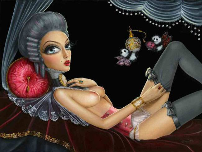 leila ataya fine art painting acrylic sexy beautiful woman big eyes surrealism feminine