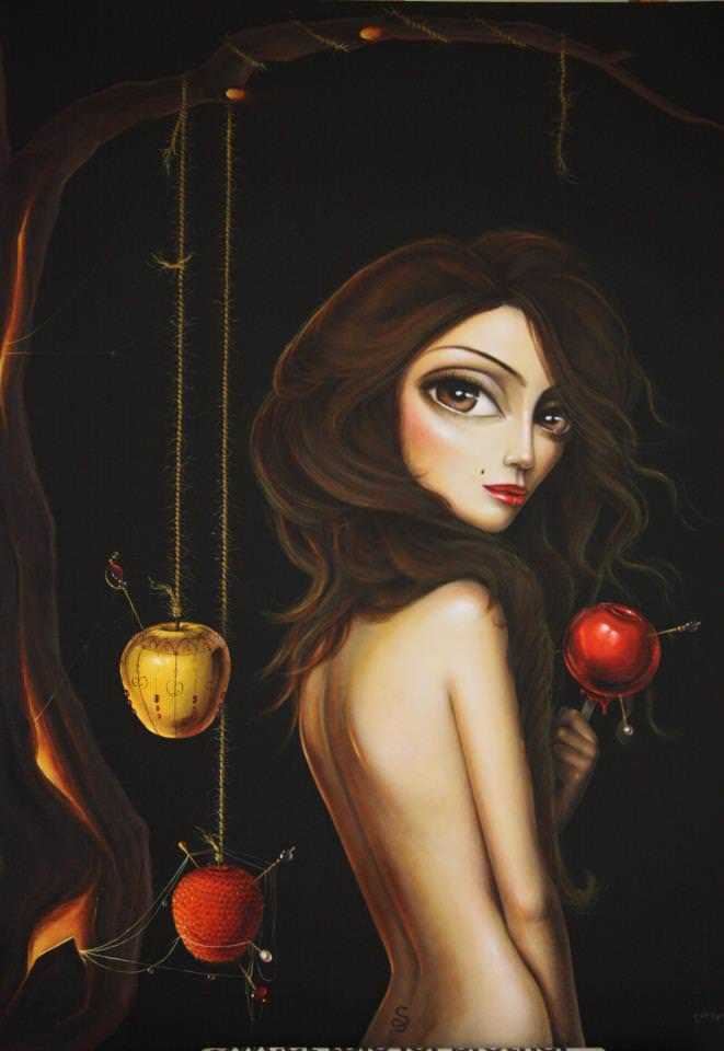 leila ataya fine art painting beautiful sexy woman big eyes apples surrealism fantasy