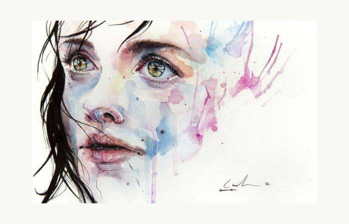 little girl child art portrait watercolor painting face ink spill splatter dribble drip face design