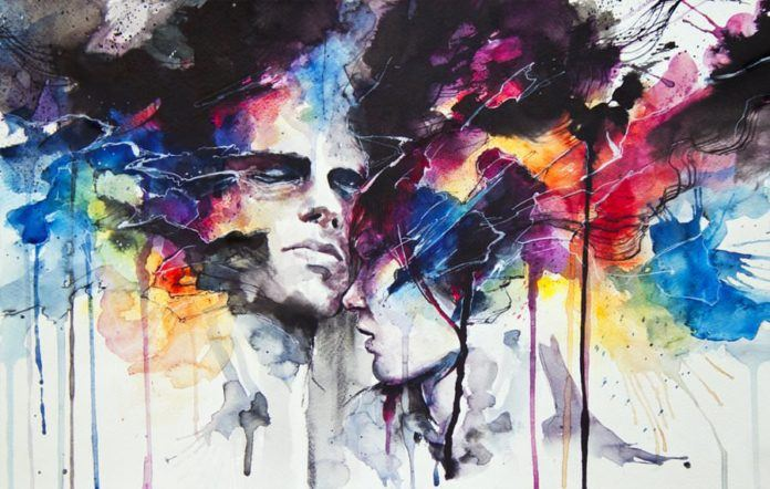 love relationship couple drama art watercolor painting portrait splash drip splatter paint ink art