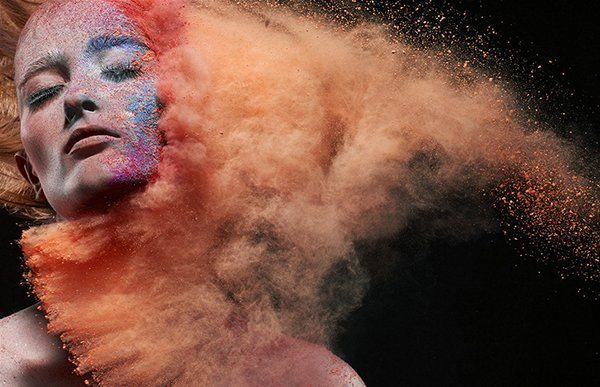 model girl woman powder paint puff thrown art photography fashion design iain crawford