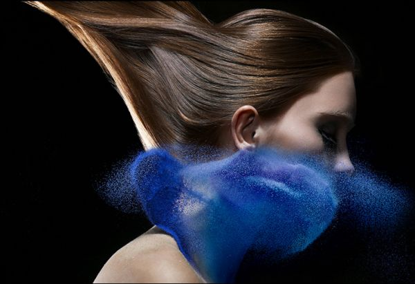 model girl woman powder paint thrown art photography iain crawford blue