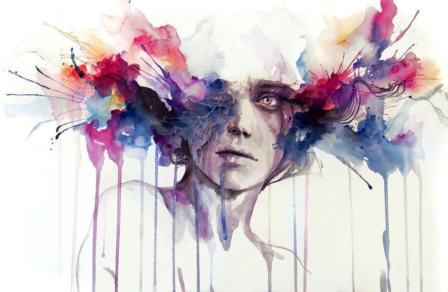 modern watercolor portrait color brains exploding drip dribble splatter splash ink
