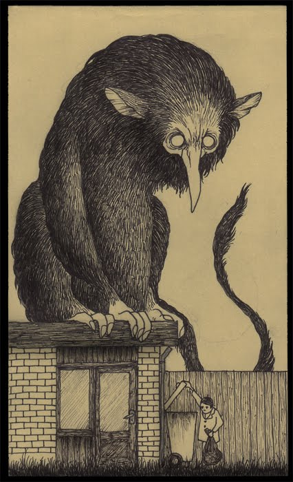 monster on the roof taking out the trash scary horror illustration drawing post-it art
