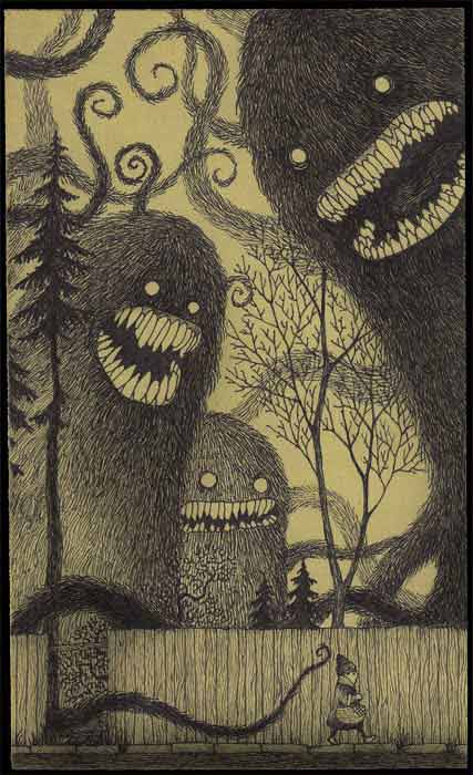 monsters in the dark wlaking home alone scary post-it note art drawing illustration john kenn