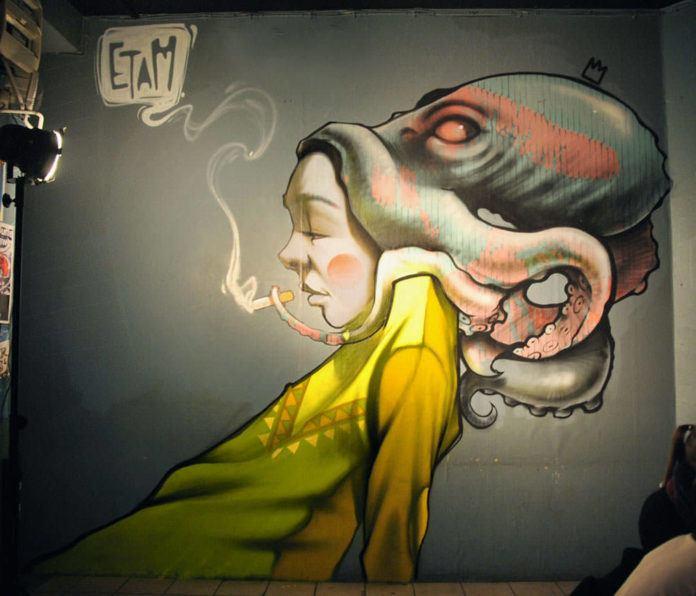 octopus hair girl graffiti street art surrealism modern fantasy obscure cigarette smoking