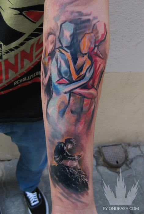 ondrash couA romantic couple hold each other tenderly in this watercolor relationship tattoo by Ondrashple love relationship tattoo design body art watercolor painting creative