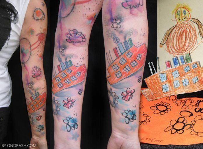 Ondrash tattoos a child's drawing onto their parent's skin
