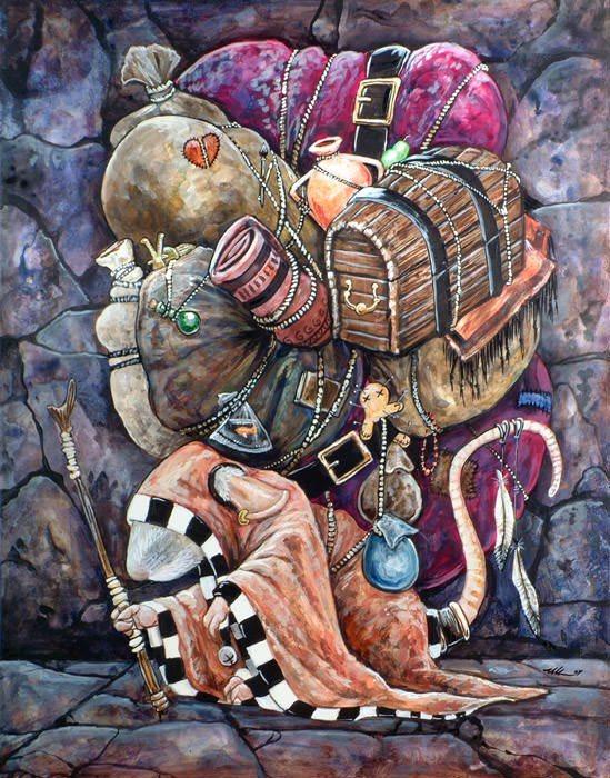 packrat art illustration funny humor visual pun pack rat monk gypsy tinker fantasy