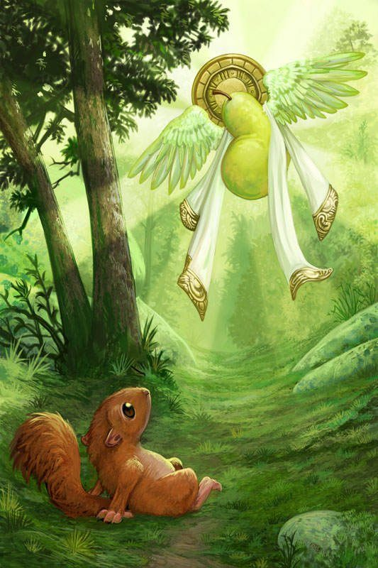 pearaphim seraphim angel pear funny humor illustration art design squirrel cute funny religion