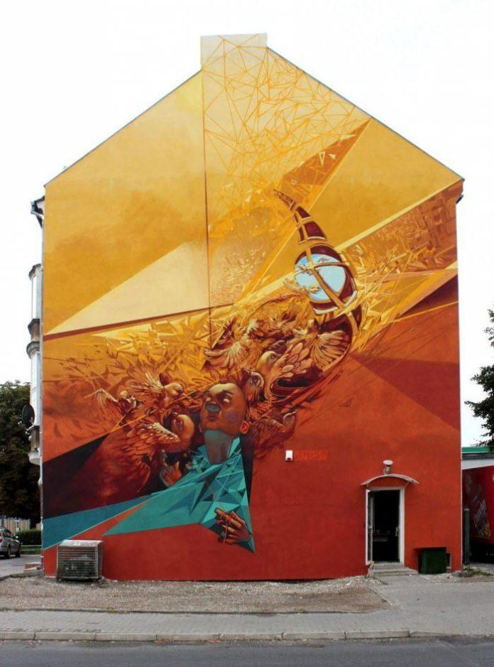 poland graffiti street art wall painting birds woman modern urban design