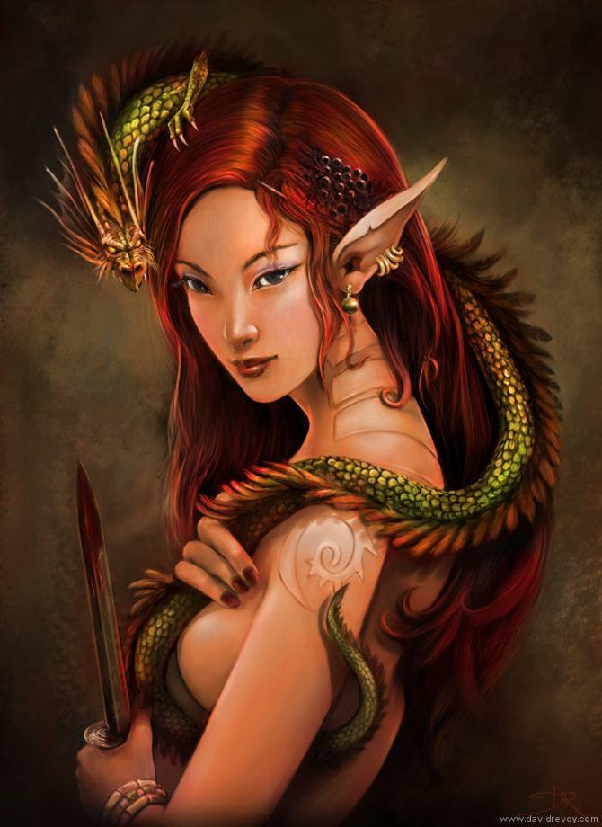 red hair elf girl woman dragon queen fantasy art illustration painting