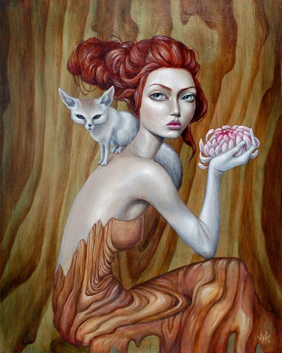 A pop surrealism portrait of a woman, a fox and a lotus flower painted on wood by Mandy Tsung