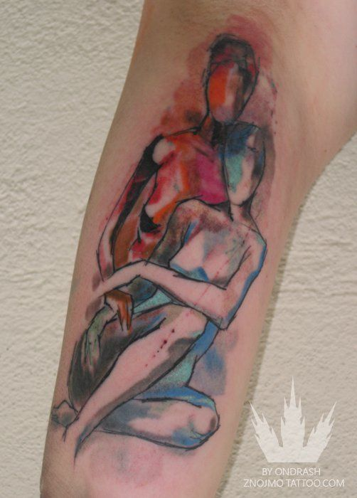 A faceless couple pose lovingly in this artistic nude watercolor tattoo by Ondrash