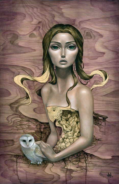 A sensual painting on wood of a mysterious and beautiful woman holding an owl