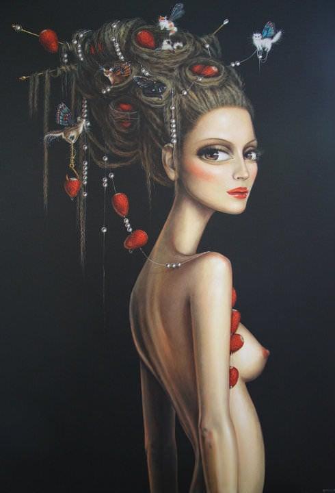 sexy beautiful thin woman strawberry birds nest hairstyle fine art painting leila ataya