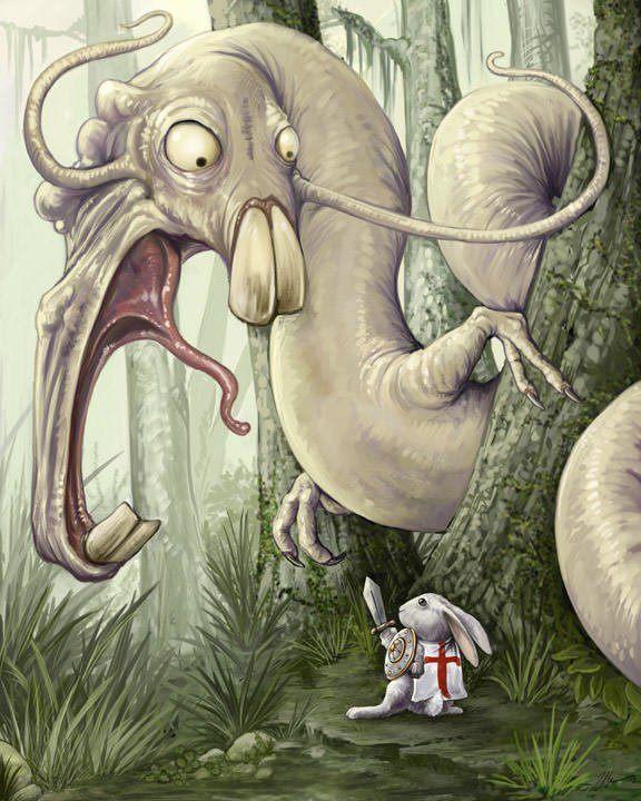 sir bunny rabbit wurm worm monster forest fantasy medieval warrior art illustration humor