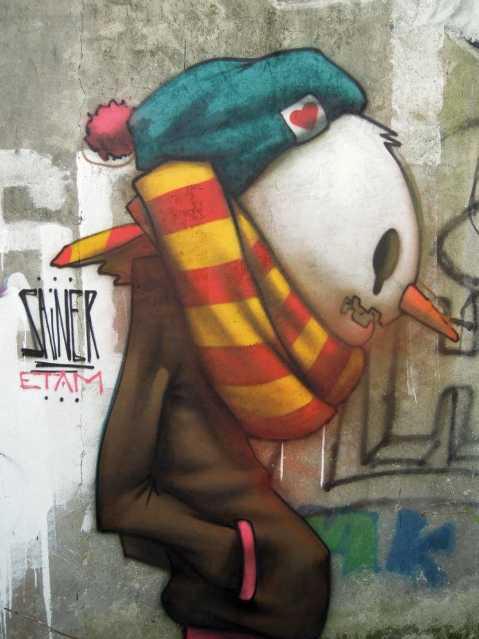 snowman head graffiti street art vandalism sainer etam cru wall painting