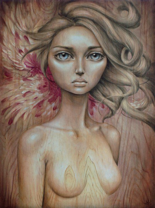 A beautiful pop surrealism portrait of a blonde woman painted on wood by Mandy Tsung