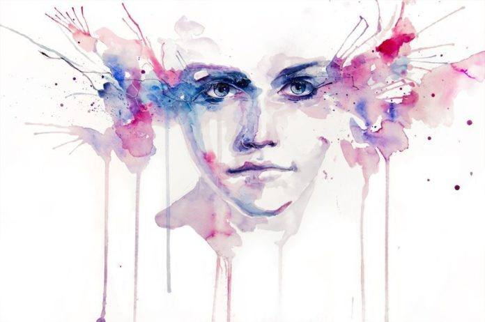 stunning eyes pink blue watercolor portrait painting art design woman drip dribble splash splatter painting