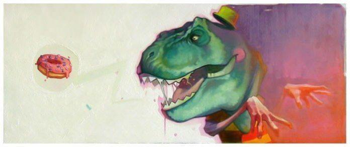 t rex dinosaur donut grfafiti humor funny street art animal extinct human hands