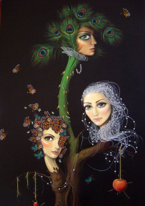 three head tree girls women butterflies peacock feathers apples surreal fine art painting leila ataya