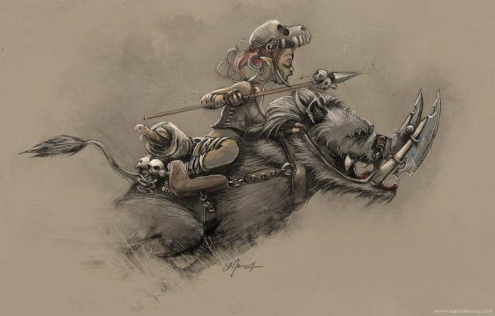 tribal warrior girl fairy tale monster beast rider sword fight fantasy art illustration