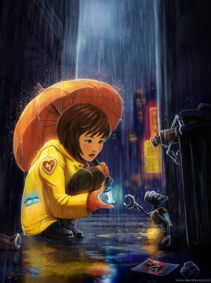 urban fantasy illustration little girl robots futuristic art painting city scene