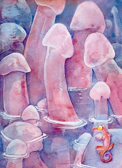 valley of wang lizard phallic mushrooms humor funny fantasy art illustration