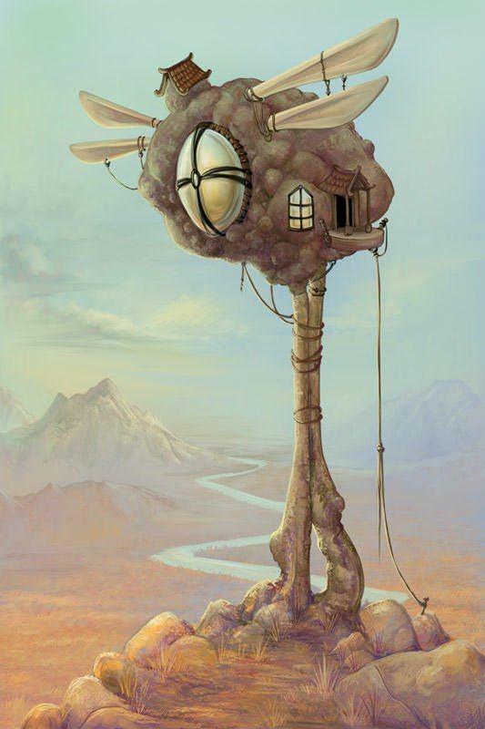 watch tuber potato tower surrealism art illustration funny humor