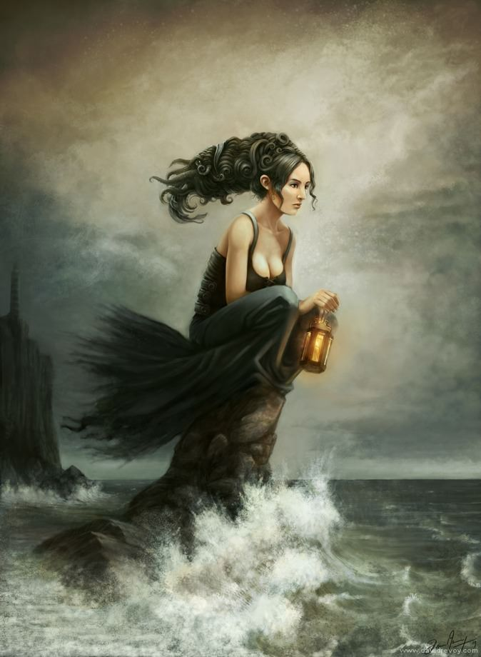 water woman sitting on rock sea shore waves lantern lighthouse fantasy art illustration