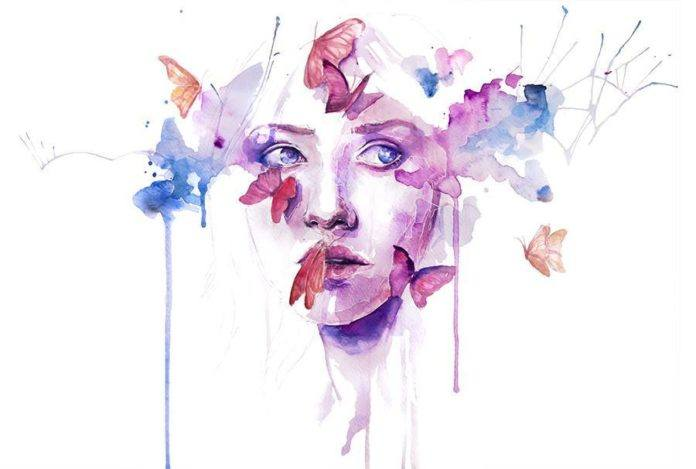 watercolor woman portrait face drip splash splatter ink spill beautiful girl painting art butterflies feminine