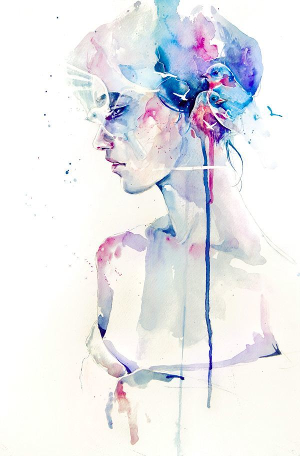 woman birds in her hair art watercolor painting ink spill splash dribble drips face portrait beautiful girl