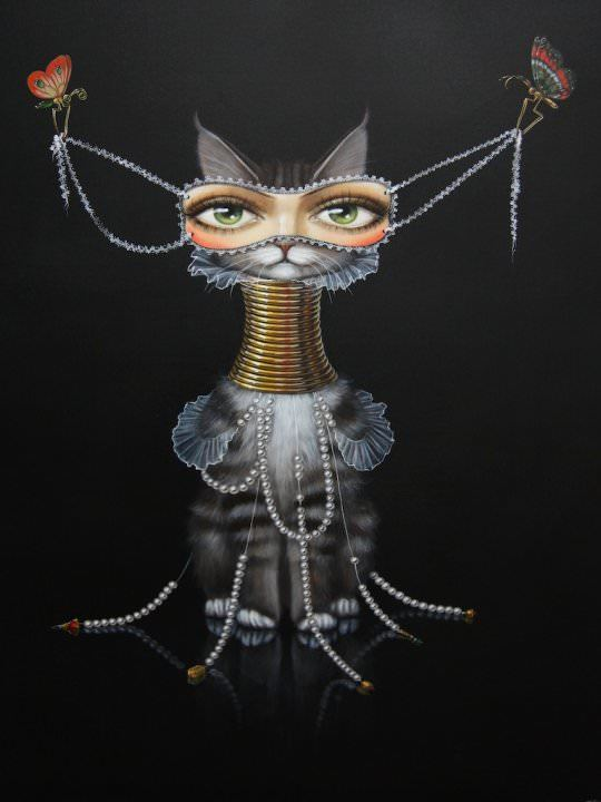 woman eyes cat pearls butterflies surrealist painting leila ataya feminine symbol