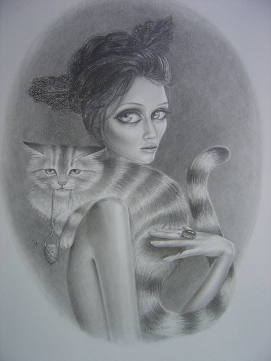 woman with cat sketch drawing big eyes beautiful feminine girl