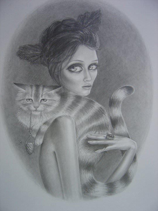 woman with cat sketch drawing big eyes beautiful feminine girl