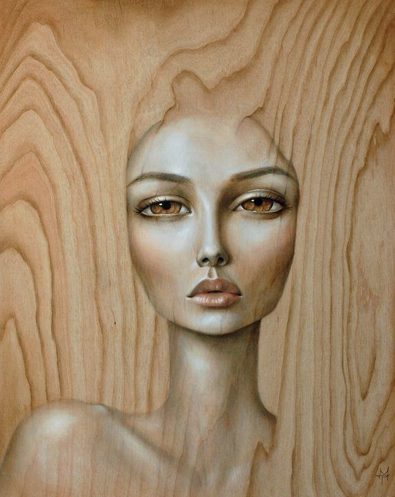 A stunning pop surrealism portrait of a beautiful woman painted on wood by Mandy Tsung