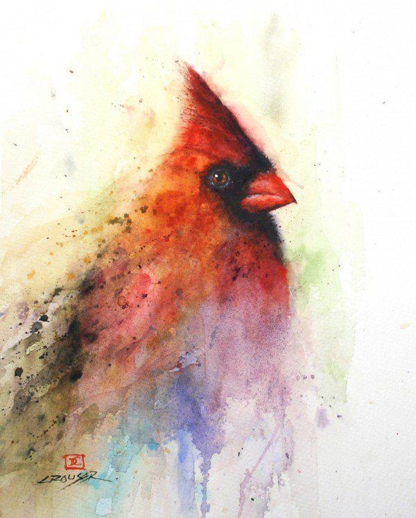 A Dean Crouser watercolor painting of a red cardinal bird, a beautiful choice for tattoo design for guys