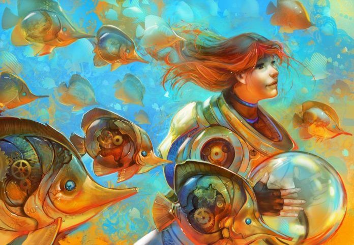 A Photoshop fanatsy painting by Julie Dillon of a cute girl with steampunk mech fish
