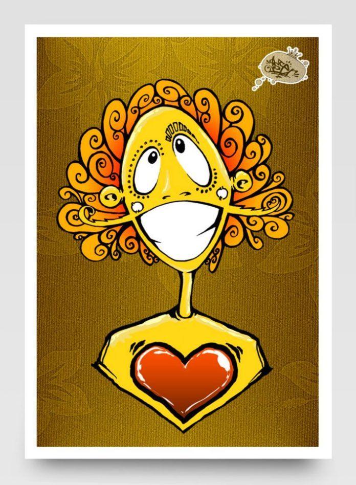 A Photoshop graffiti style cartoon portrait by Riyaan Wiener of Miss Gloria