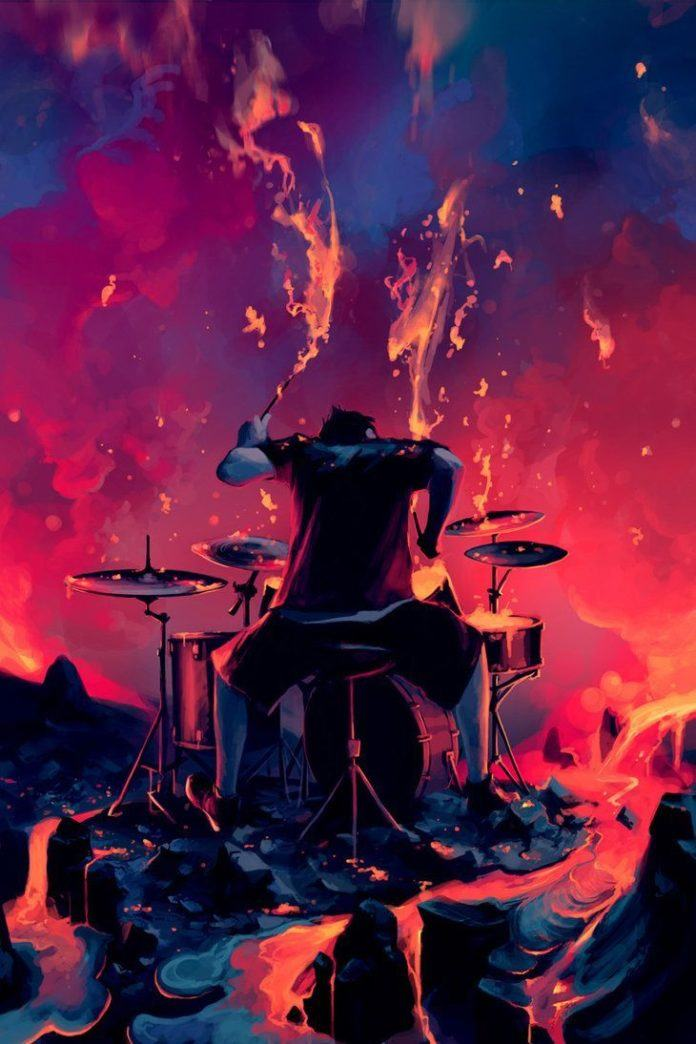 A Photoshop painting by Cyril Rolando of a drummer raging on the edge of a volcano